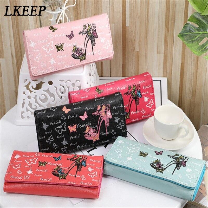 Cartera con broche para mujer, monedero para mujer, bonito bolso con estampado de mariposa, monedero, cartera, bolso de gran capacidad, cartera femenina