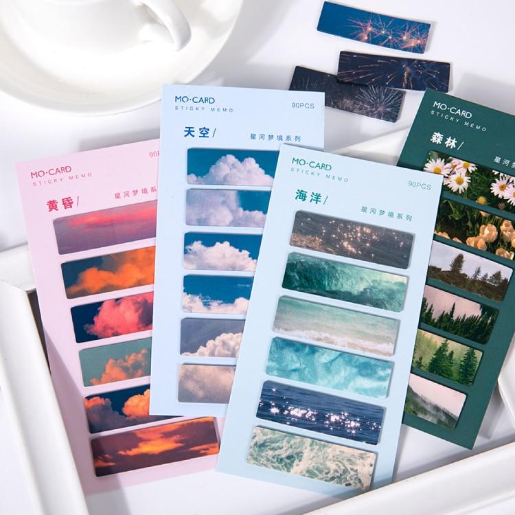 Galaxy Dream serie Bloc de notas adhesivas flor para hacer lista planificador pegatina nota decoración de oficina hoja de notas