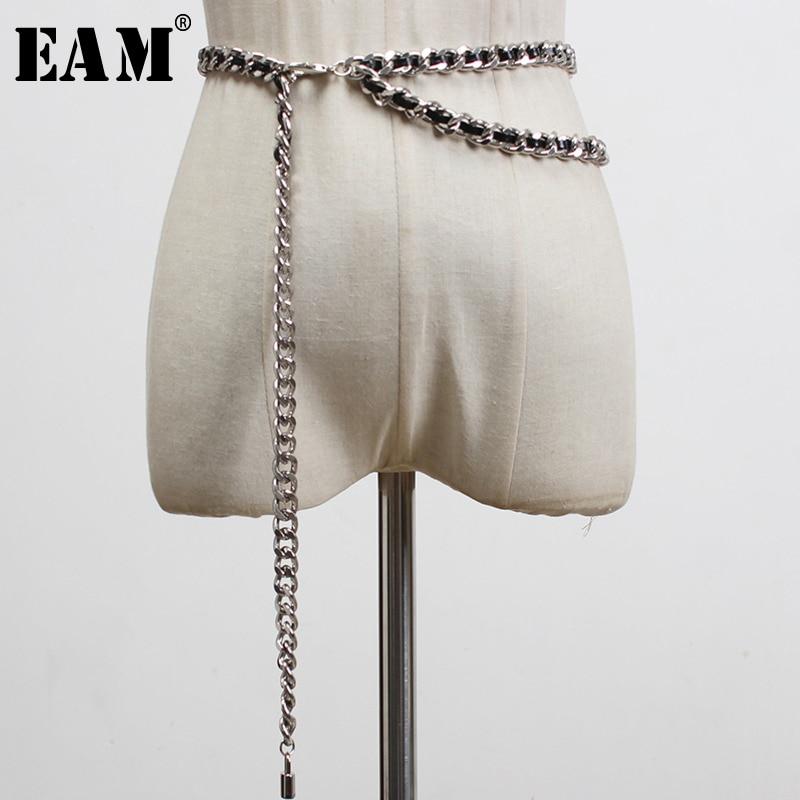 [EAM] cadenas de cintura informales, cinturón de cuero trenzado de Pu con estilo, personalidad para mujeres, nueva moda, combina con todo, primavera 2020 1U267