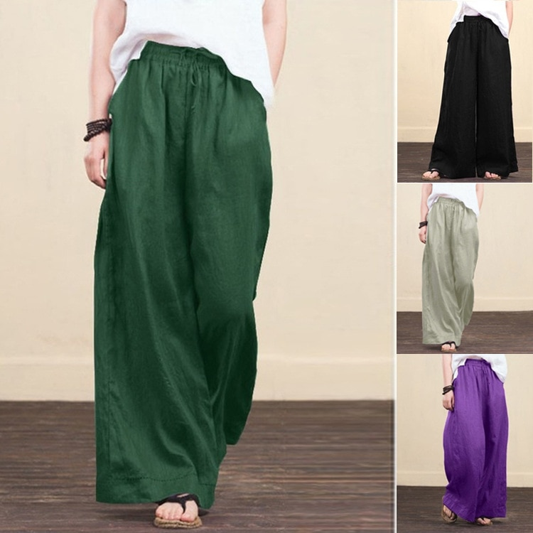 Wide Leg Pants Linen Black Pants Women Fashion 2021 Summer Plus Size Trousers Gothic Women Clothing Harajuku