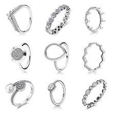 9 Style argent couleur anneau pavé Logo Signature avec cristal Pan anneaux pour femmes mariage femmes cadeaux Fine bijoux Original