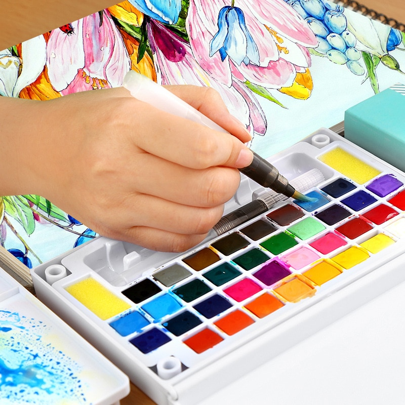 Set de pintura de acuarela sólida Superior 18/24/36/48 con pincel de viaje plegable pigmento de Color agua para dibujar suministros de arte 03111