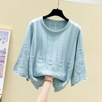 spring and summer 2021 new round neck hollow out sweater womens thin blouse pullover loose knit top fashion
