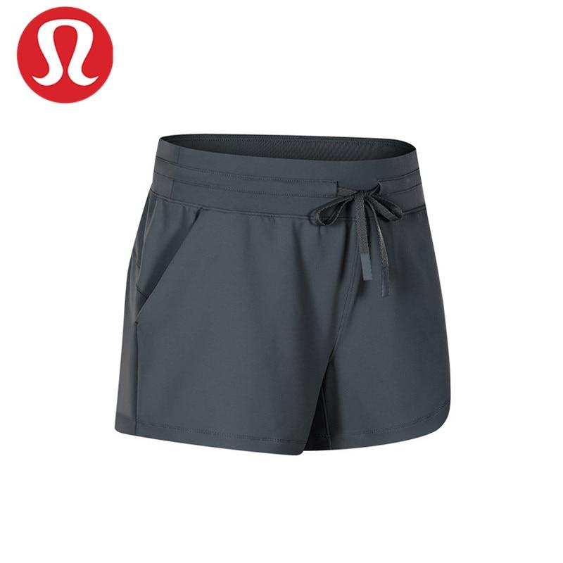 Pantalones cortos de Yoga con cordón en la cintura para mujer, Shorts...