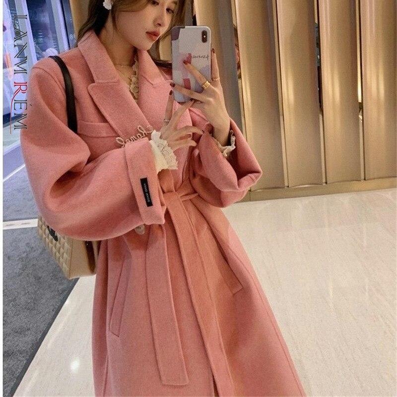 LANMREM 2021 الشتاء الوردي معطف المرأة النسخة الكورية ضمادة الخصر الكشمير المألوف معاطف الإناث ملابس عصرية 2C657