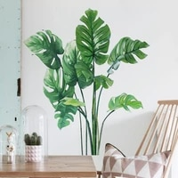 dropship top luxury green hot plant wall stickers window wall stickers room bar flower store wall decorations for home 2021 new