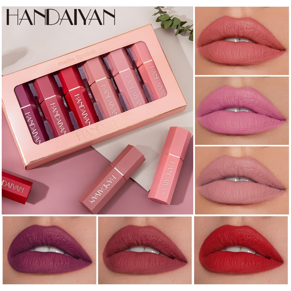 HANDAIYAN Lip Gloss Lightweight Matte Long Lasting Waterproof Velvet Lipstick Set Nourish Moisturizing Professional Lip Makeup