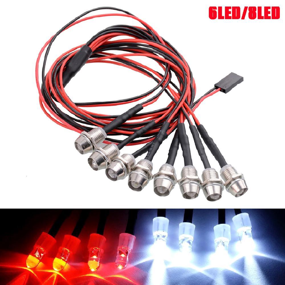 Nueva gran oferta 6/8 Kit de luz LED 2 blanco 2 rojo Azul 2 para 1/10 de 1/8 Traxxas HSP SCX10 D90 HPI RC Coche