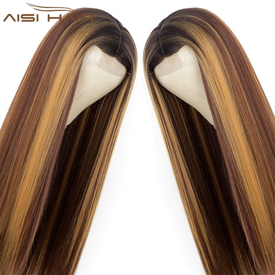 NNZES 24 Inches Long Straight Highlights Blonde Synthetic Wig for Women Middle Part False Hair Heat Resistant Fiber