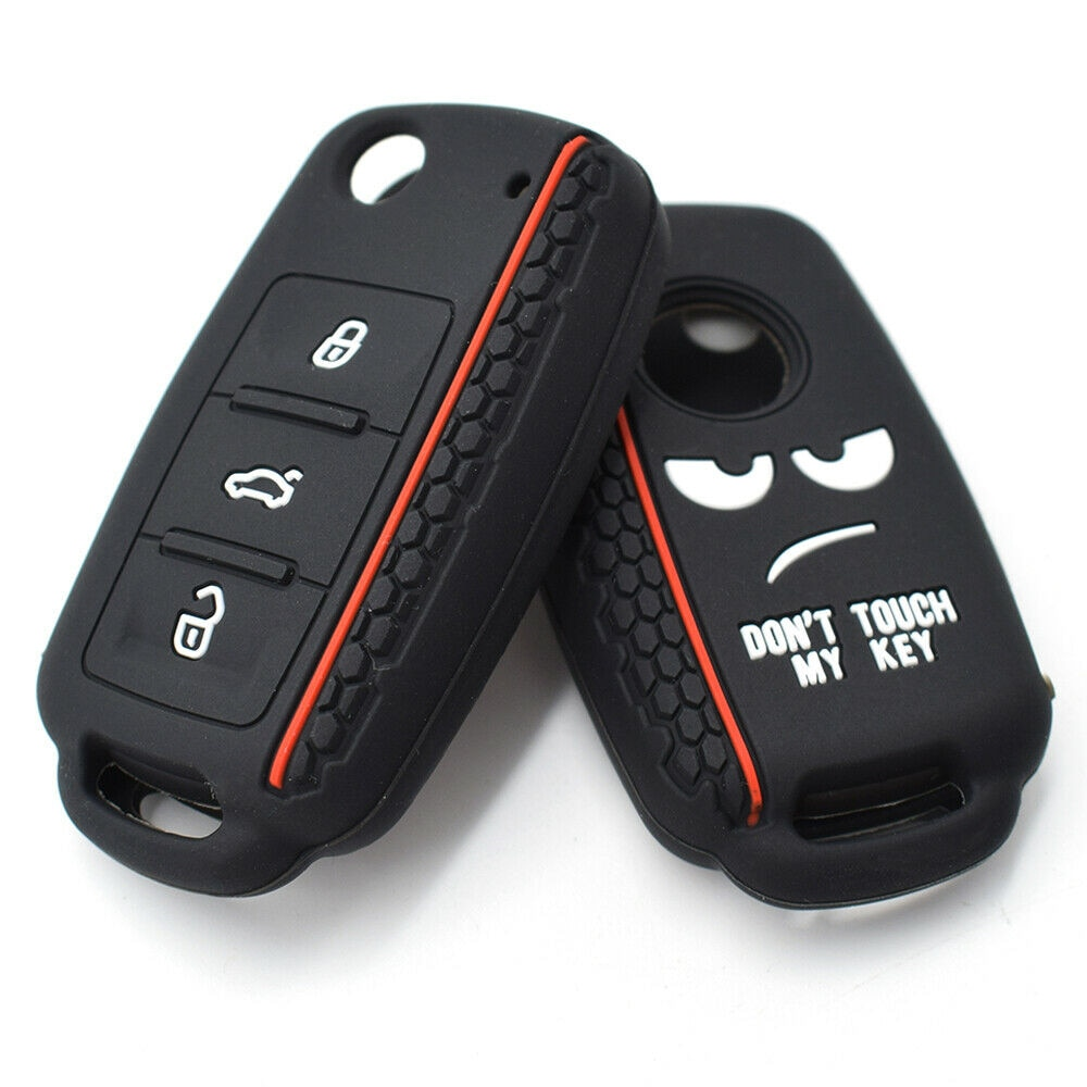 2021 Silicone Car Key Case For VW Volkswagen Polo Golf Passat Beetle Caddy T5 Eos Tiguan Skoda A5 SEAT Flip Remote Cover