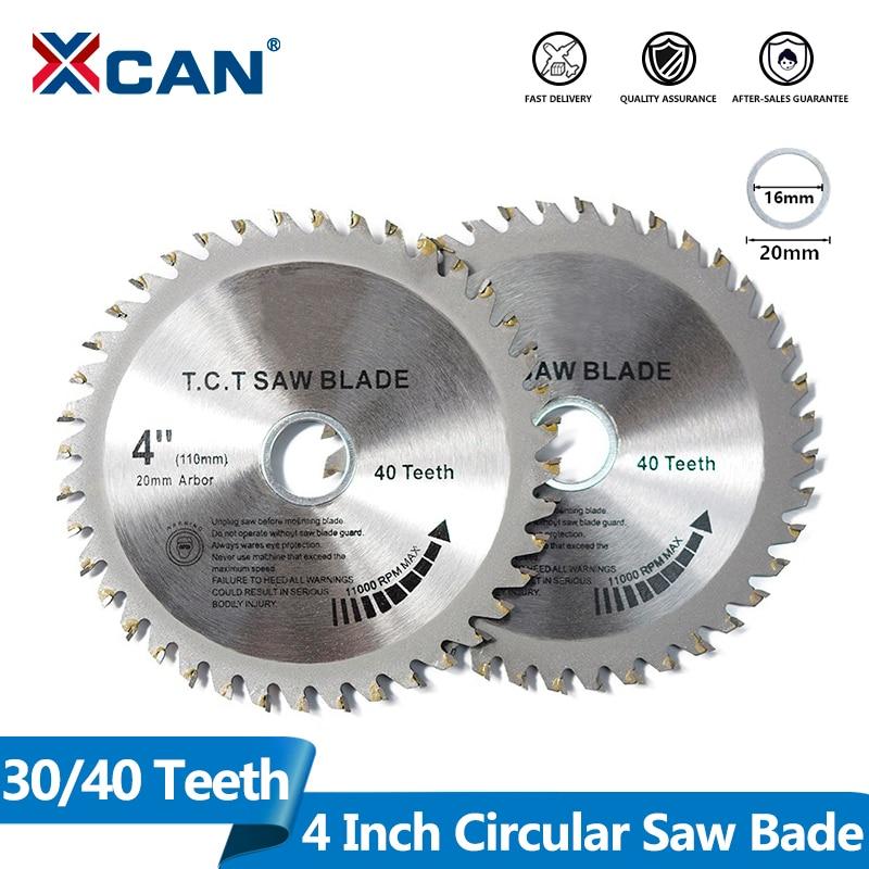 XCAN, 1 pieza, 4 , 30/40 dientes TCT, hojas de sierra Circular para carpintería, hoja de sierra para madera multiusos, disco de corte