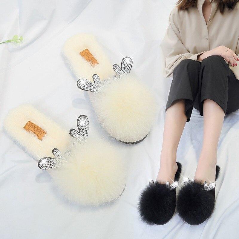 Women Small Antlers Furry Slippers Lady Cute Plush Fox Hair Fluffy Sandals Warm Slippers Rhinestone Cotton Slipper Womens Shoes