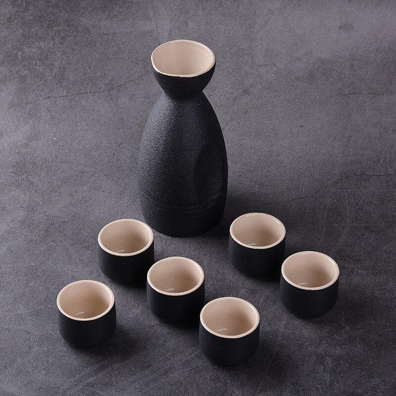 7Pcs Ceramic Sake Pot Cups Set Vintage Japan Hip Flasks Home Kitchen Office Flagon Liquor Cup Drinkware Creative Gifts DIY Laser