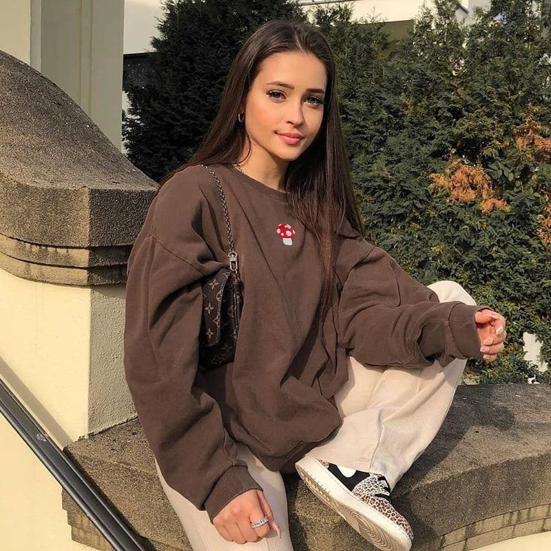 Sweatshirts Streetwear 2021 new Fashion Embroidery mushroom Indie Aesthetic 90s Long Sleeve Hoodies