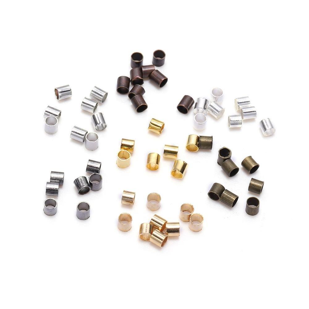 500 Uds 1,5 2,0 2,5mm cuentas engastadas de cierre de tubo de cobre dorado cuentas espaciadoras de tope para la fabricación de joyas suministros collar