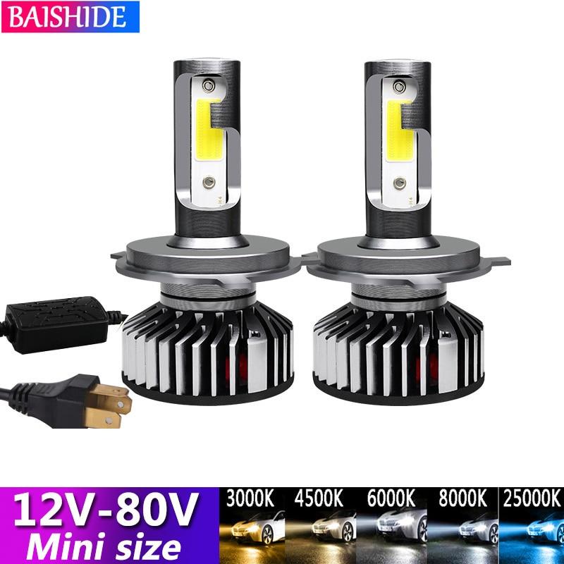 BAISHIDE 80V LED lampada H4 H7 LED de la linterna del coche 8000LM 4300K 6000K 8000K lámpara H3 H1 9005 HB3 9006 HB4 H8 H9 H11 bombilla de luz 24V
