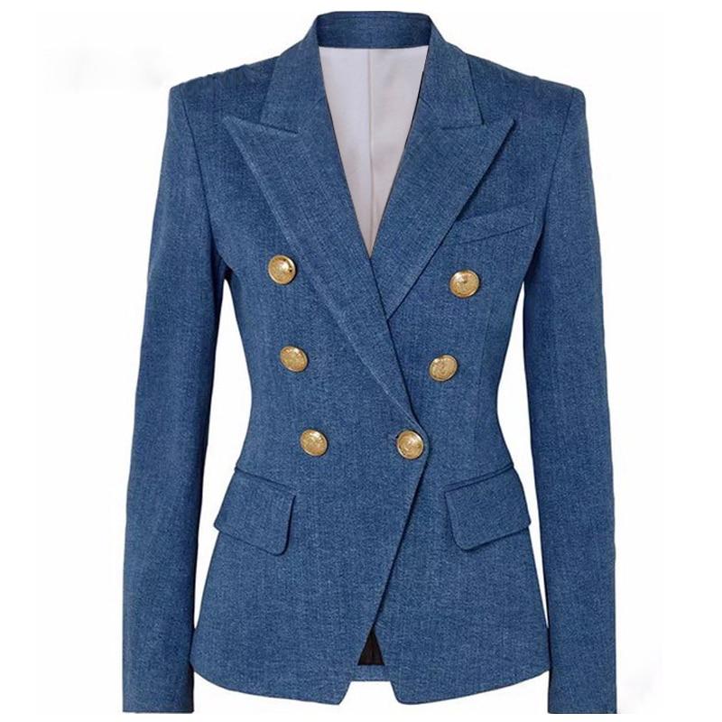 S-XXL high quality 2019 new fashion dark blue imitation denim fabric double-breasted slim long-sleeved women's suit jacket