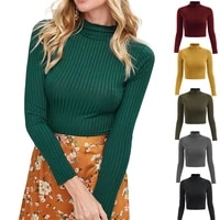 women short rib knitted tops long sleeve half high collar bare navel t shirt elastic slim solid color crop top casual clothing
