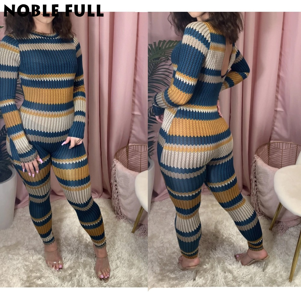 Sexy Bodycon Striped Print Jumpsuit Women Long Sleeve Vintage Colorful Backless Playsuit Overalls Rompers Club