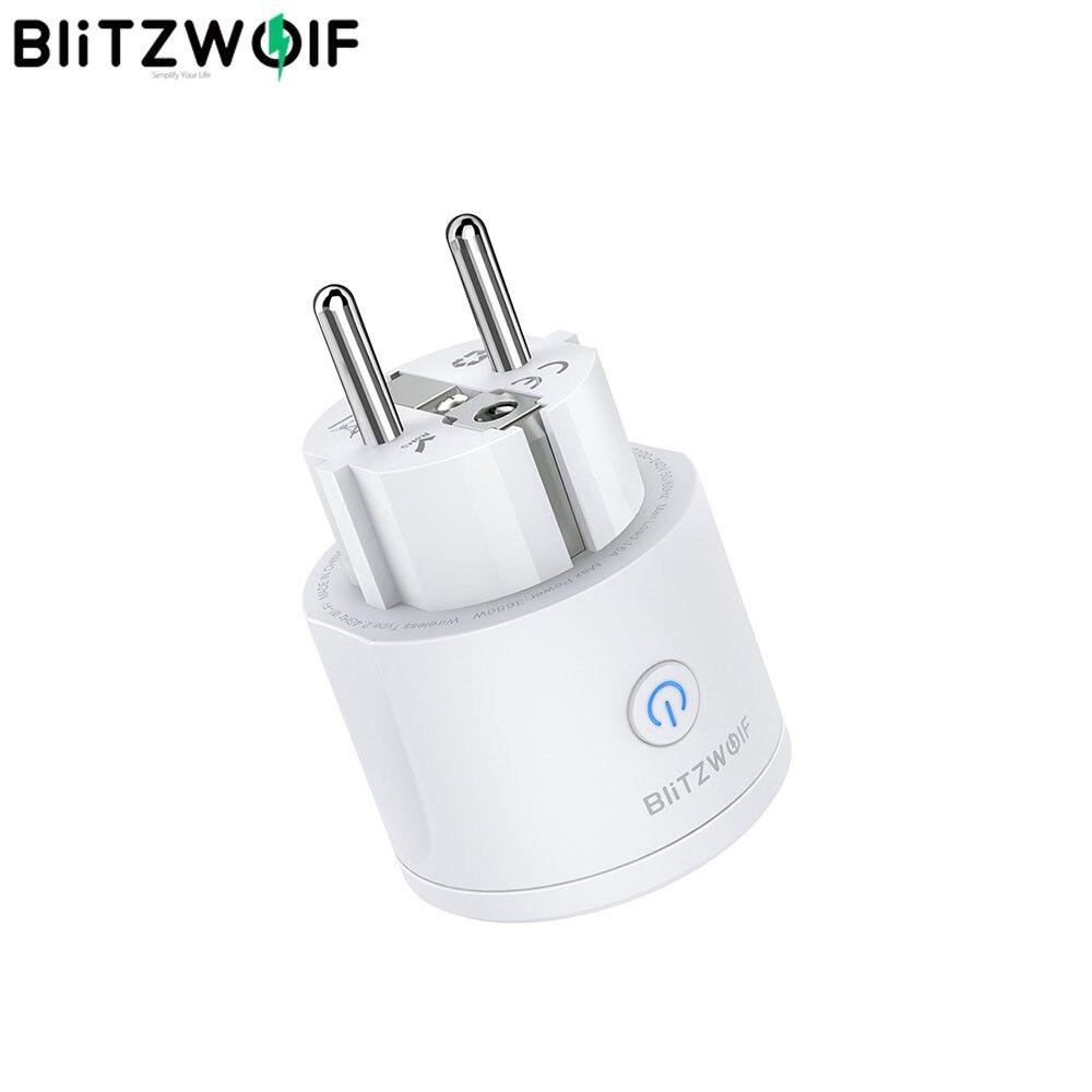 BlitzWolf-مقبس الاتحاد الأوروبي الذكي 16A ، 3680 واط ، WIFI ، تطبيق ذكي ، مؤقت ، مراقب الكهرباء ، يعمل مع مساعد Google Alexa