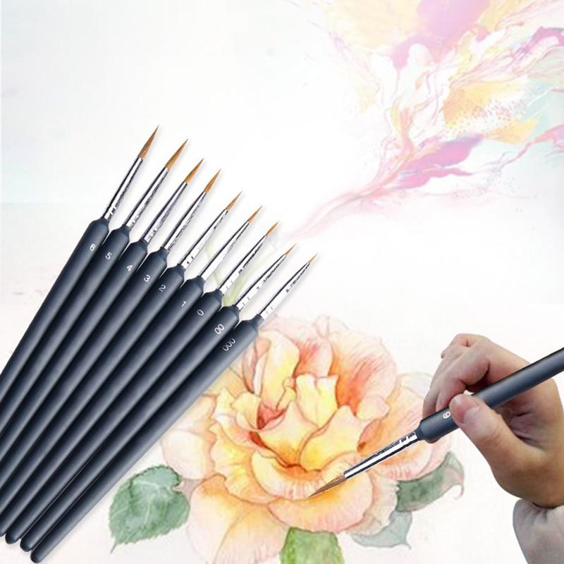 Miniature Paint Brush Set Various Size Professional Nylon Brush Acrylic Painting Thin Hook Line Pen Art Supplies Hand Painted A3