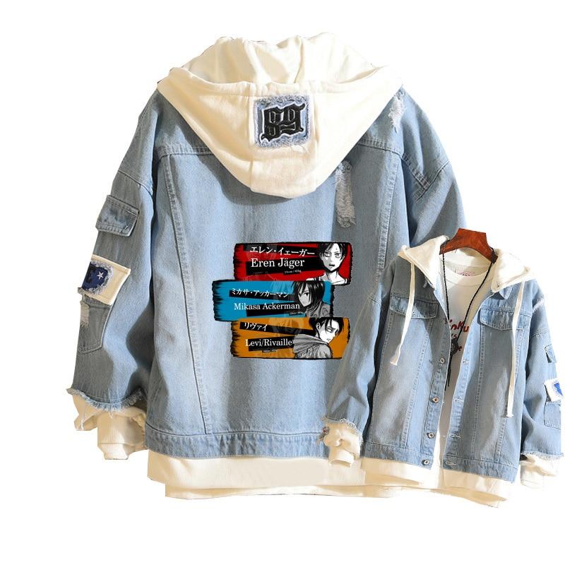Ataque em titan mulheres demin jaqueta levi cosplay jean hoodies harajuku blusão unisex moletom masculino primavera streetwear topos
