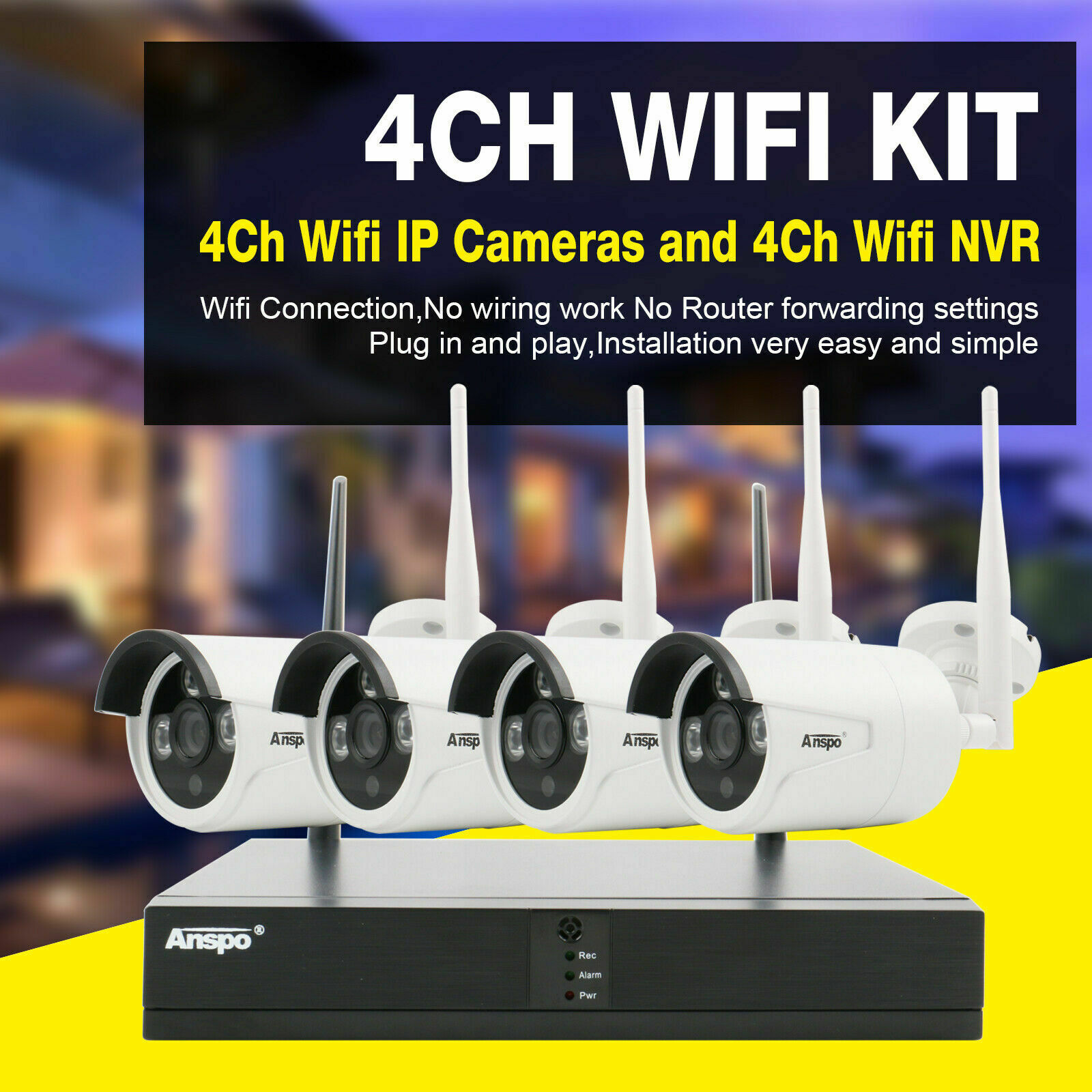 jooan security camera system wireless nvr kit wifi cctv system 4ch 1080p 2 0mp p2p indoor outdoor ip camera surveillance kits Anspo Wireless 4CH 1080P NVR Outdoor indoor WIFI HD Camera CCTV Security System Kit