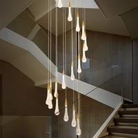 modern crystal drops led pendant lights stair lobby loft led pendant lamp living room luminaire suspension led hanging light