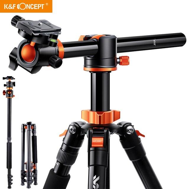 K & F Concept 72 дюйма Камера штатив, S211 поперечный центральная колонка алюминия DSLR Vlog видео штатив с 360 градусов шаровой головкой