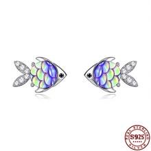 Multicolor Resin Cute Fish For Women 925 Sterling Silver Stud Earrings Simple Fine Female Silver Jew