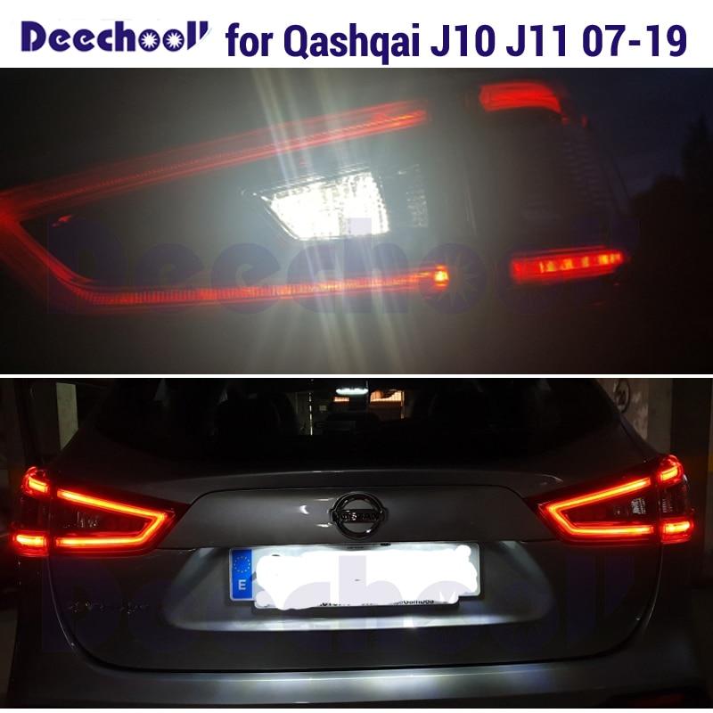Canbus blanco marcha atrás LED luces de reserva + libre de Error lámpara de placa de matrícula para Nissan Qashqai J10 J11 exteriores LED bombillas de luces 07-19
