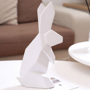 Simple and modern origami rabbit home decorations study office small ornaments animal ceramic crafts D205