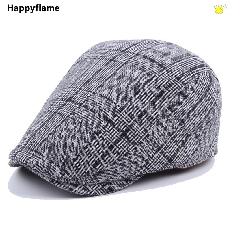 New Adjustable Men Casual Street Beret Hat Classic Vintage Plaid British Western Ivy Newsboy Caps Co