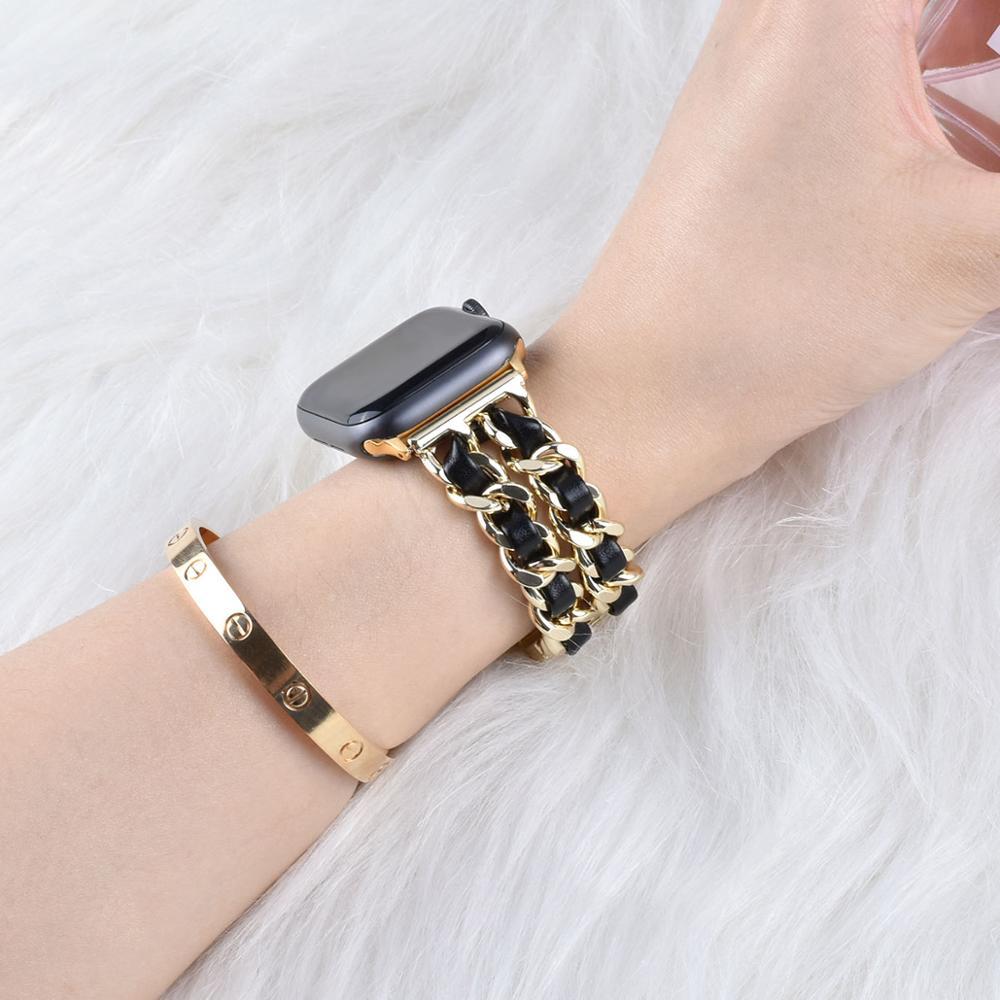 Pulseira de aço inoxidável para apple watch 42mm 38mm 1/2/3/4 pulseira de metal pulseira de couro para iwatch series 4 5 6 44mm 40mm