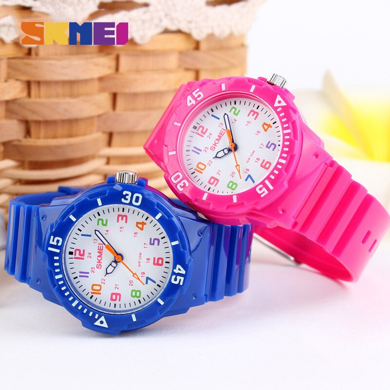 SKMEI Children Kids Watches 5bar Waterproof Clock Watch Casual Wristwatches Grils enfant montre For Fashion Kids Quartz Jelly