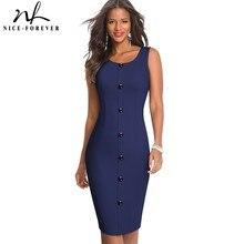 Nice-forever Summer Women Fashion Solid Color with Button Elegant Work Dresses Formal Business Vinta