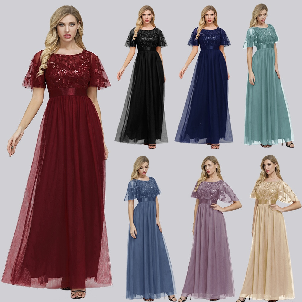 maid of honor dresses for weddings bridesmaid party dresses for women long prom dress graduation dresses back of bandage a line Kayars Chiffon Appliques Bridesmaid Dresses with Ruffle Sleeve A-Line Plus Size Round Neck Maid of Honor Dresses for Weddings