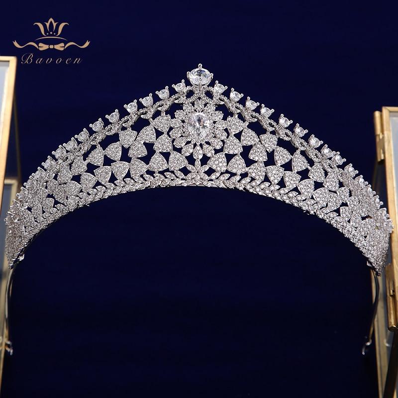 La Princesa Real de cristal de circón DE BODA pelo diademas para novias coronas flores noche joyería del pelo