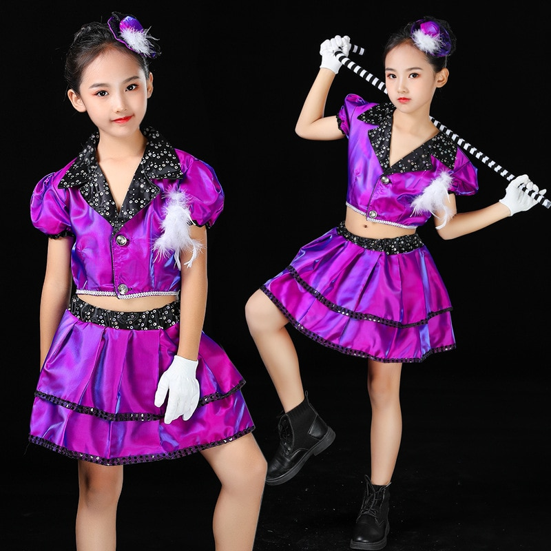 Костюм для девушек для джазовых танцев и представлений, костюм для уличных танцев в стиле хип-хоп, модная одежда для подиума