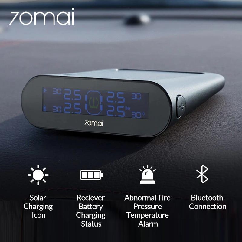 Xiaomi 70mai TPMS датчик давления в шинах система мониторинга солнечной энергии 70 Mai приложение жк дисплей автомобильная охранная сигнализация давление в шинах