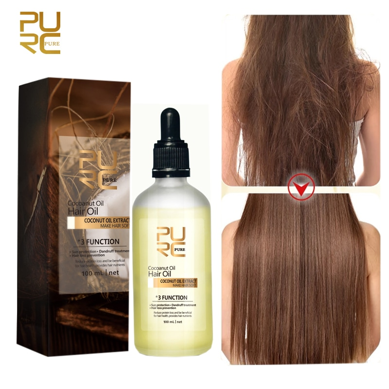 PURC Coconut Oil Hair Loss Prevention Smoothing Repair Frizz Dandruff Hair and Scalp Treatments Hair Care 100ml