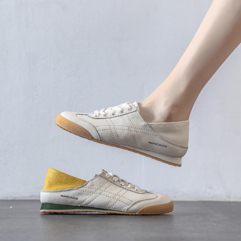 ربيع/خريف 2020 جديد أحذية نسائية لينة وحيد مريحة الفم الضحلة حذاء مسطح اثنين ارتداء جلد ناعم حذاء أبيض المرأة