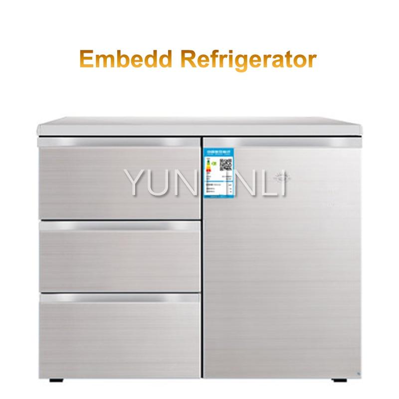 Refrigerador doméstico, horizontal, cozinha, incorporado, três gavetas, lado por porta, refrigeração direta, congelador