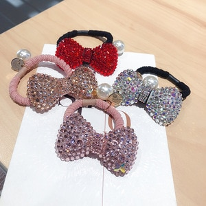 Korean Temperament Exquisite Rhinestones Bow Rubber Band Hair Rope Fashion Sweet Girl Women's Ponytail Hair Accessories