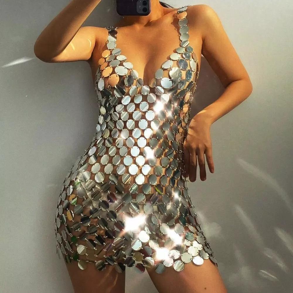 Lacteo Sexy Metal Sequin Body Chain Jewelry for Women Fashion Underwear Belly Chain Cage Chest Bra Bikini Female Gifts