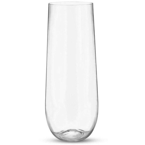 25 قطعة ستيمليس غير قابلة للكسر كريستال واضح البلاستيك كؤوس مشروبات زجاجات الشمبانيا المربعة (9 أوقية)