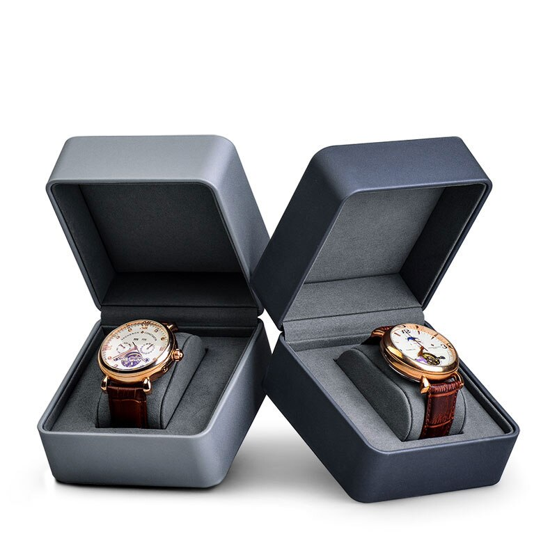Deluxe Version Single With Pillow Watch Gift Box PU Leather Watch Display Box Single Packaging Portable Storage ice gray bracelet watch storage box display stand dust proof glass transparent watch box display props small pillow wholesale