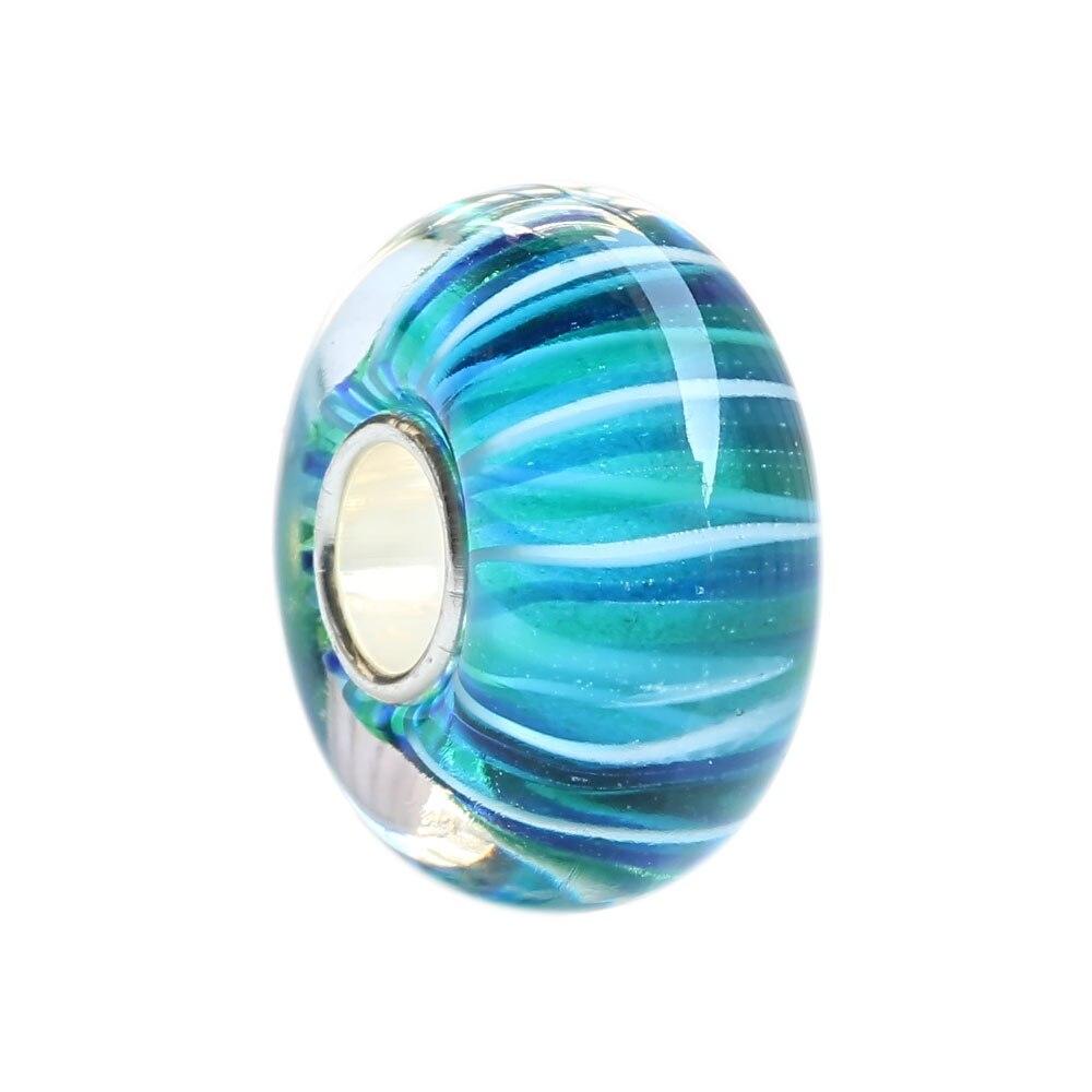 Cuentas de cristal azul-verde con tubo de plata esterlina sólida 925 con ajuste de cadena y pulsera de serpiente europea