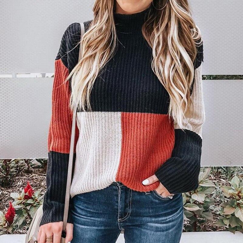 Laamei nuevo Otoño Invierno moda mujer tejido a cuadros Patchwork suéter cuello alto manga larga suéter mujer Casual Streetwear