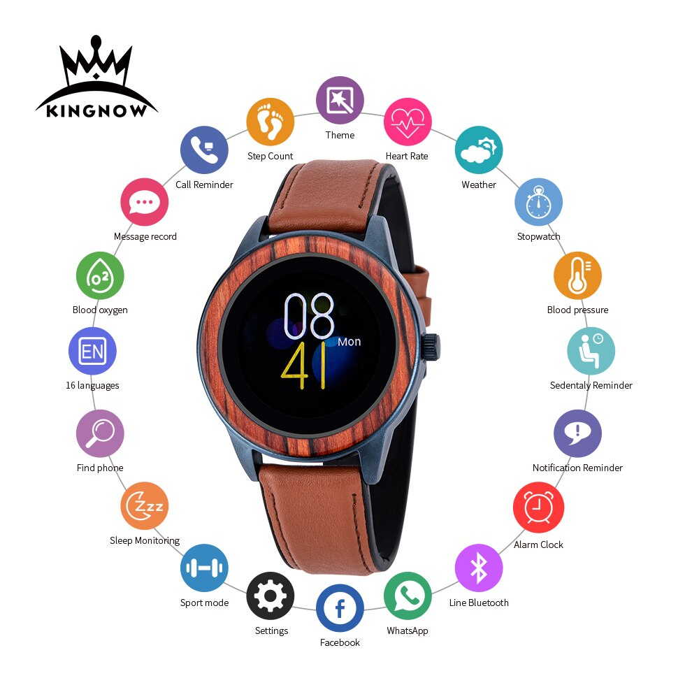 KINGNOW Men's Smart Watches For Woman wristwatch 2021 Wooden Sports Watch For Android ios Multifuntional Waterproof 3ATM Clock